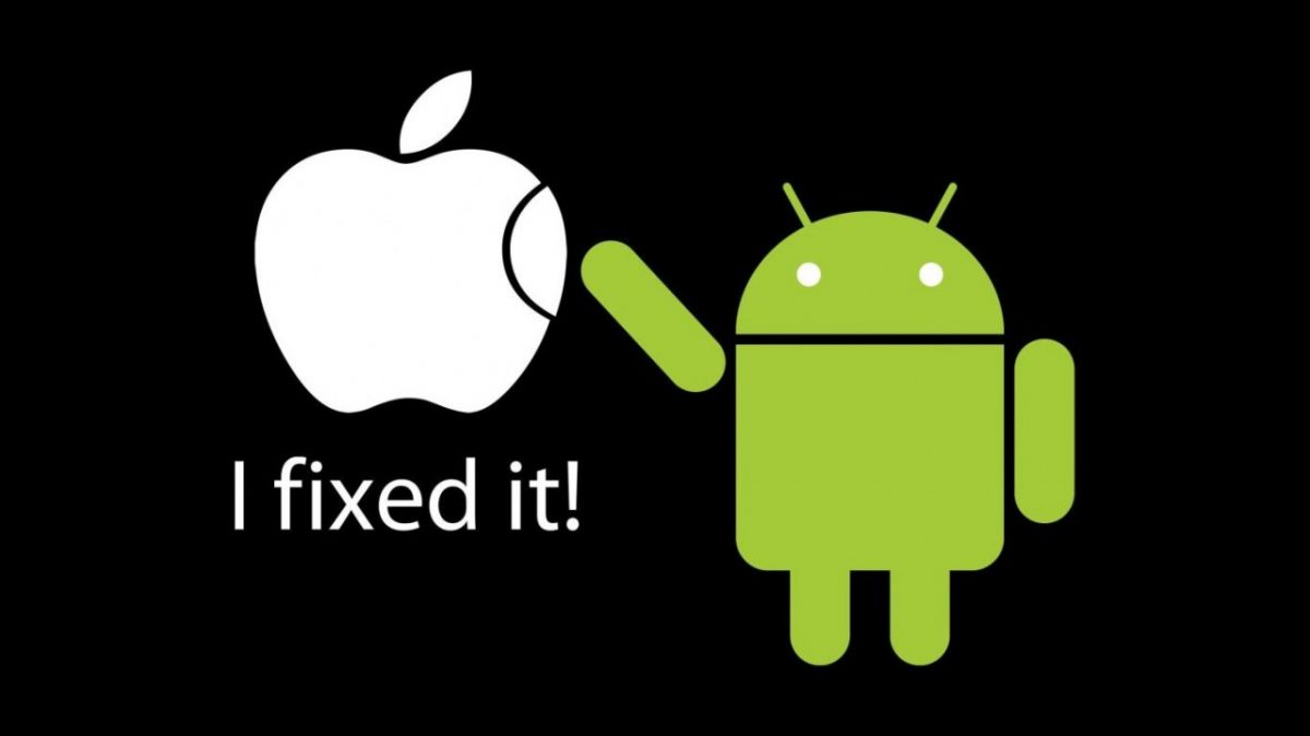 Apple logo being fixed by Android Logo