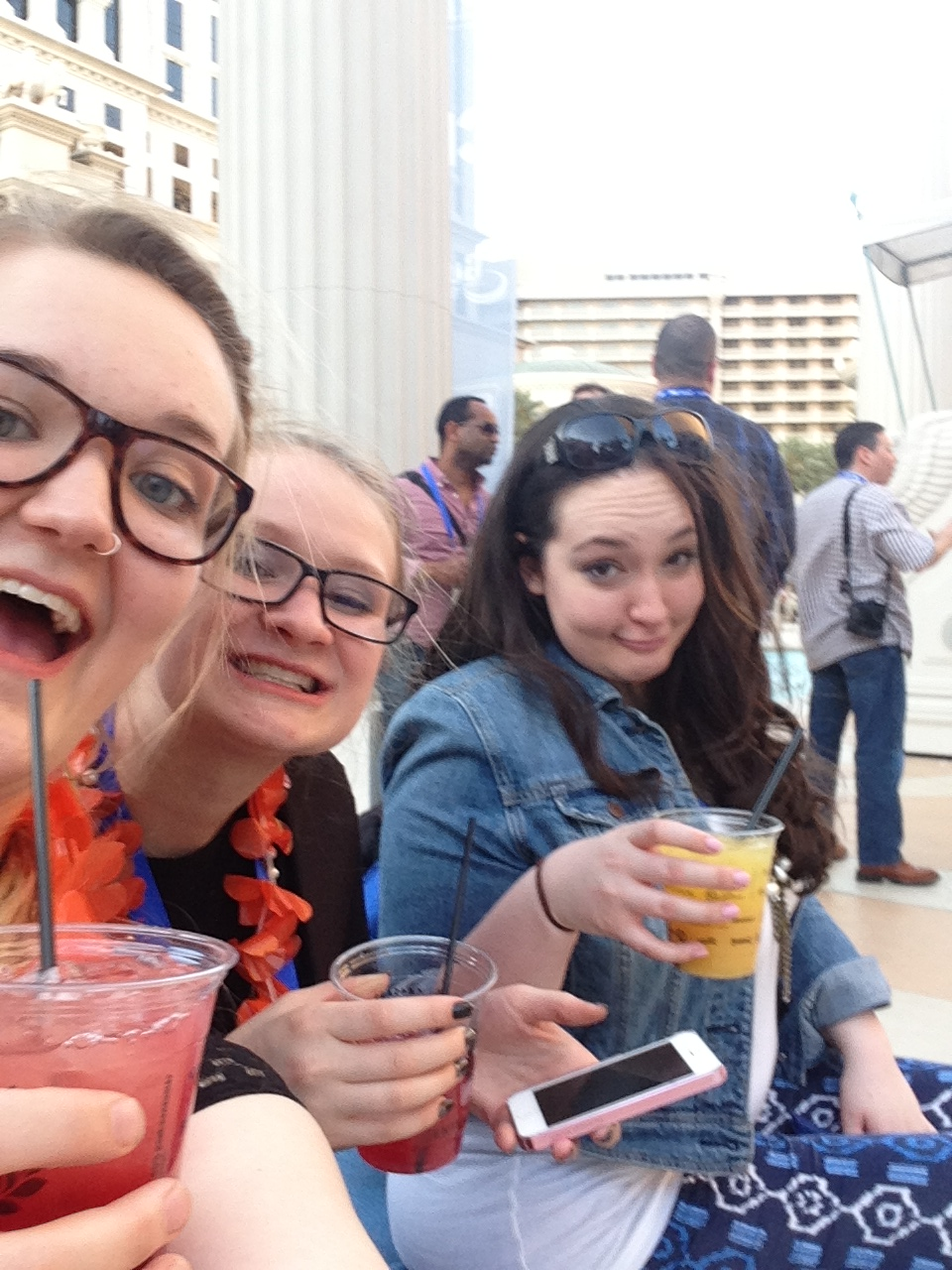 "Danielle, Kayla, and I getting ""juiced"" since there was nothing else for us to drink."