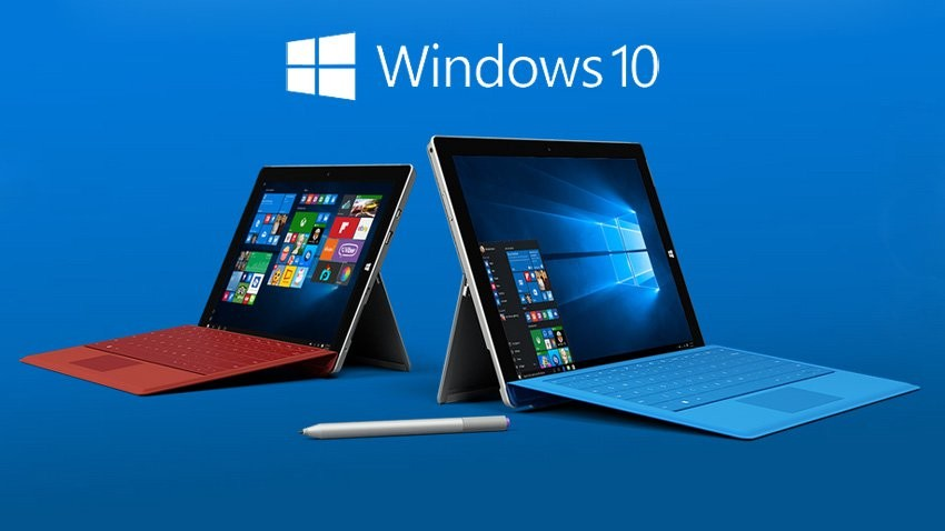 Windows 10 logo with Surface pro device, case, and pen with blue background
