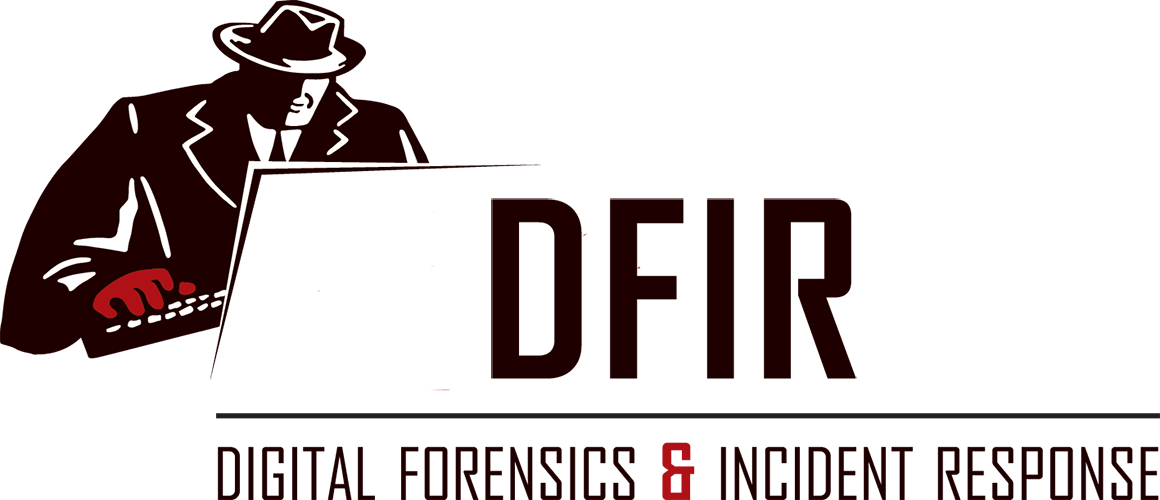 DFIR Digital Forensics and Incident Response investigator in trenchcoat on computer white background