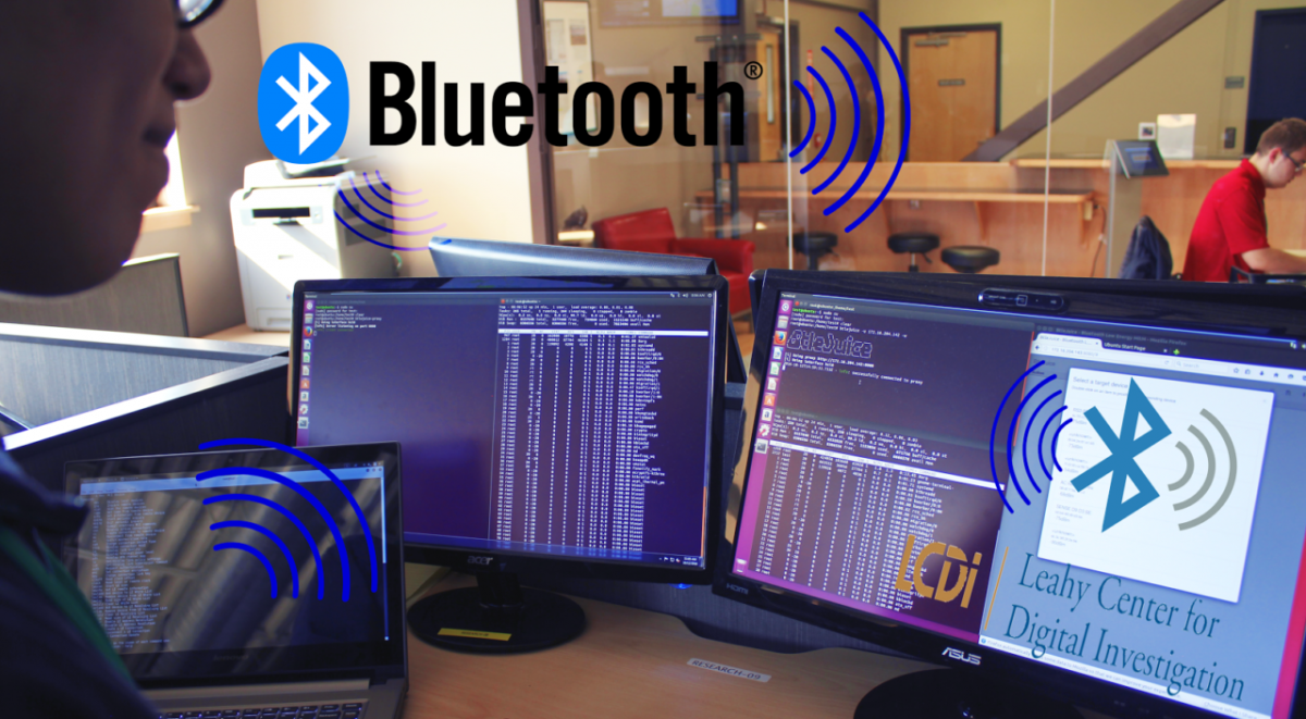 Bluetooth Security with logo and three monitors at the LCDI