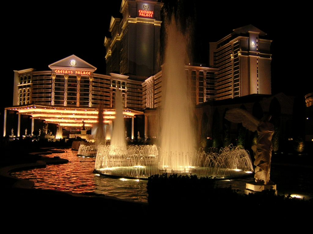 Enfuse caesars palace las vegas at night water fountains running