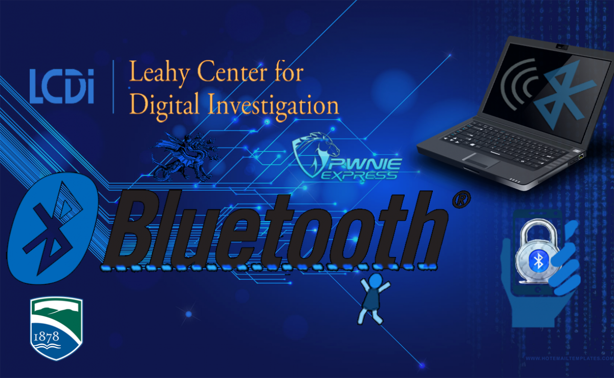 LCDI Leahy Center for Digital Investigation Bluetooth logo and Champlain College logo dark blue background